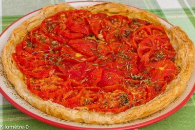 Photo de recette de tarte moutarde, tomate, été, facile, végétarienne, healthy,  Kilomètre-0, blog de cuisine réalisée à partir de produits de saison et issus de circuits courts