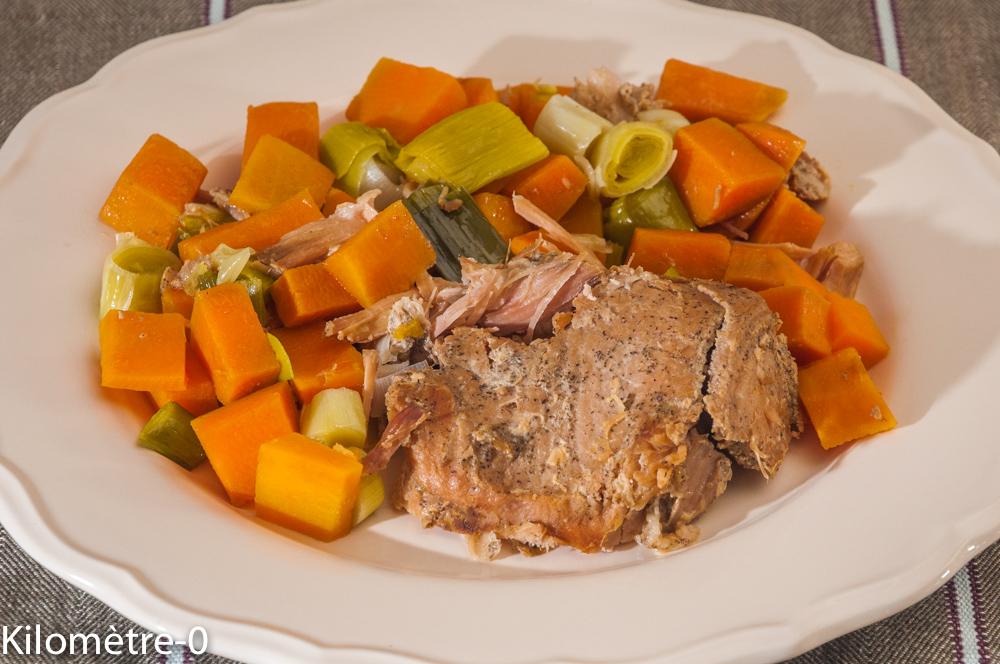 Photo de recette de confit de porc aux patates douces et poireaux de  Kilomètre-0, blog de cuisine réalisée à partir de produits locaux et issus de circuits courts