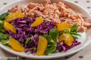 Photo de recette de salade de chou rouge, saumon, orange, mâche, facile, rapide, légère de Kilomètre-0, blog de cuisine réalisée à partir de produits locaux et issus de circuits courts
