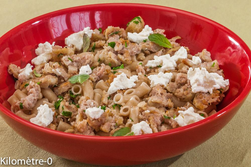 Photo de recette italienne,  pâtes, saucisse, ricotta, bio de Kilomètre-0, blog de cuisine réalisée à partir de produits locaux et issus de circuits courts