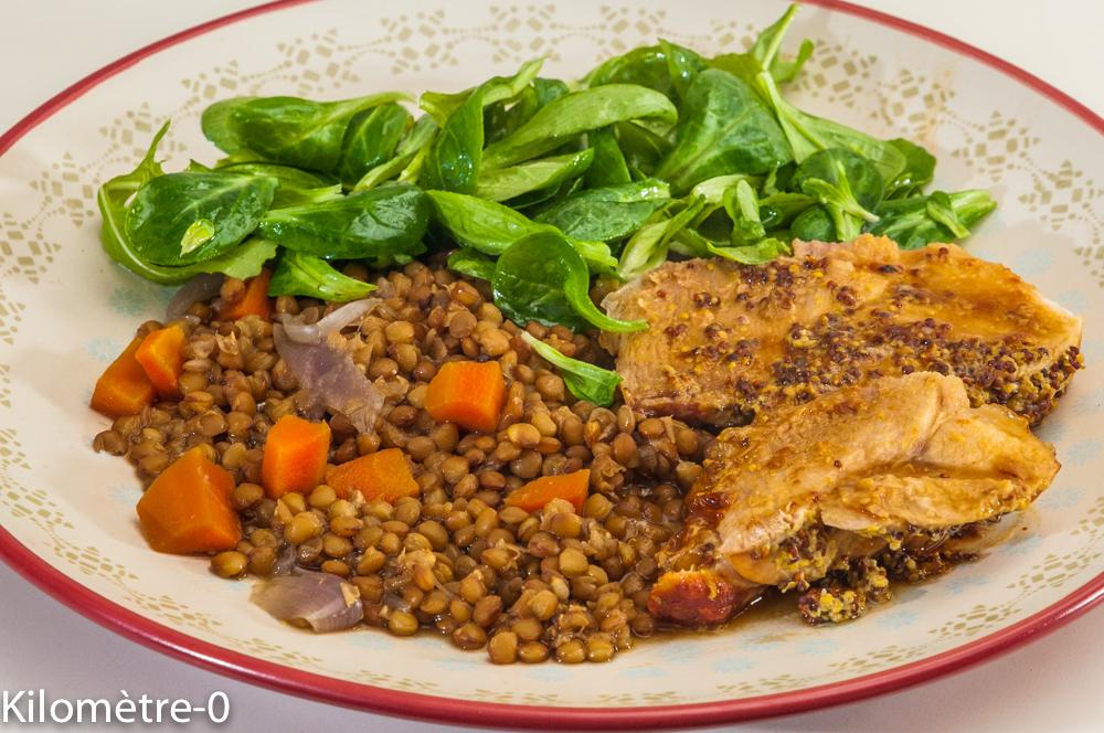 Photo de recette de palette, hiver, lentilles, moutarde, facile de Kilomètre-0, blog de cuisine réalisée à partir de produits locaux et issus de circuits courts