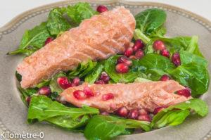 Photo de recette de salade saumon, grenade, yuzu, perle, citron de  Kilomètre-0, blog de cuisine réalisée à partir de produits locaux et issus de circuits courts