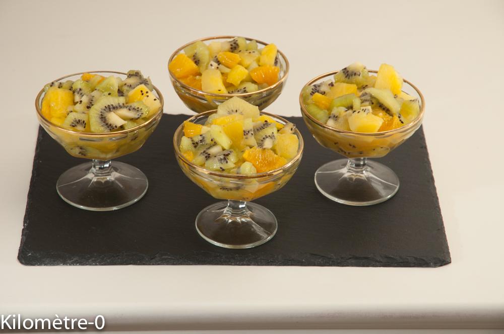 Photo de recette de salade de fruits, hiver, facile, rapide, kiwis, orange, ananas de Kilomètre-0, blog de cuisine réalisée à partir de produits locaux et issus de circuits courts