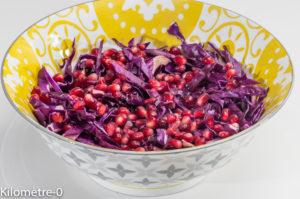 Photo de recette de salade de chou rouge à la grenade, bio, léger, rapide, healthy de Kilomètre-0, blog de cuisine réalisée à partir de produits locaux et issus de circuits courts