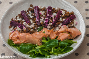 Photo de recette de salade, saumon, fêta, betterave, facile, rapide, de Kilomètre-0, blog de cuisine réalisée à partir de produits locaux et issus de circuits courts