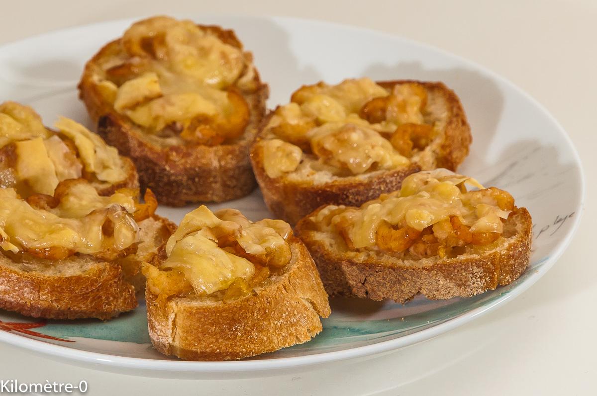 Photo de recette de toast, crevettes grises, crevettes, comté, fromage, apéro facile, rapide, léger, Kilomètre-0, blog de cuisine réalisée à partir de produits de saison et issus de circuits courts