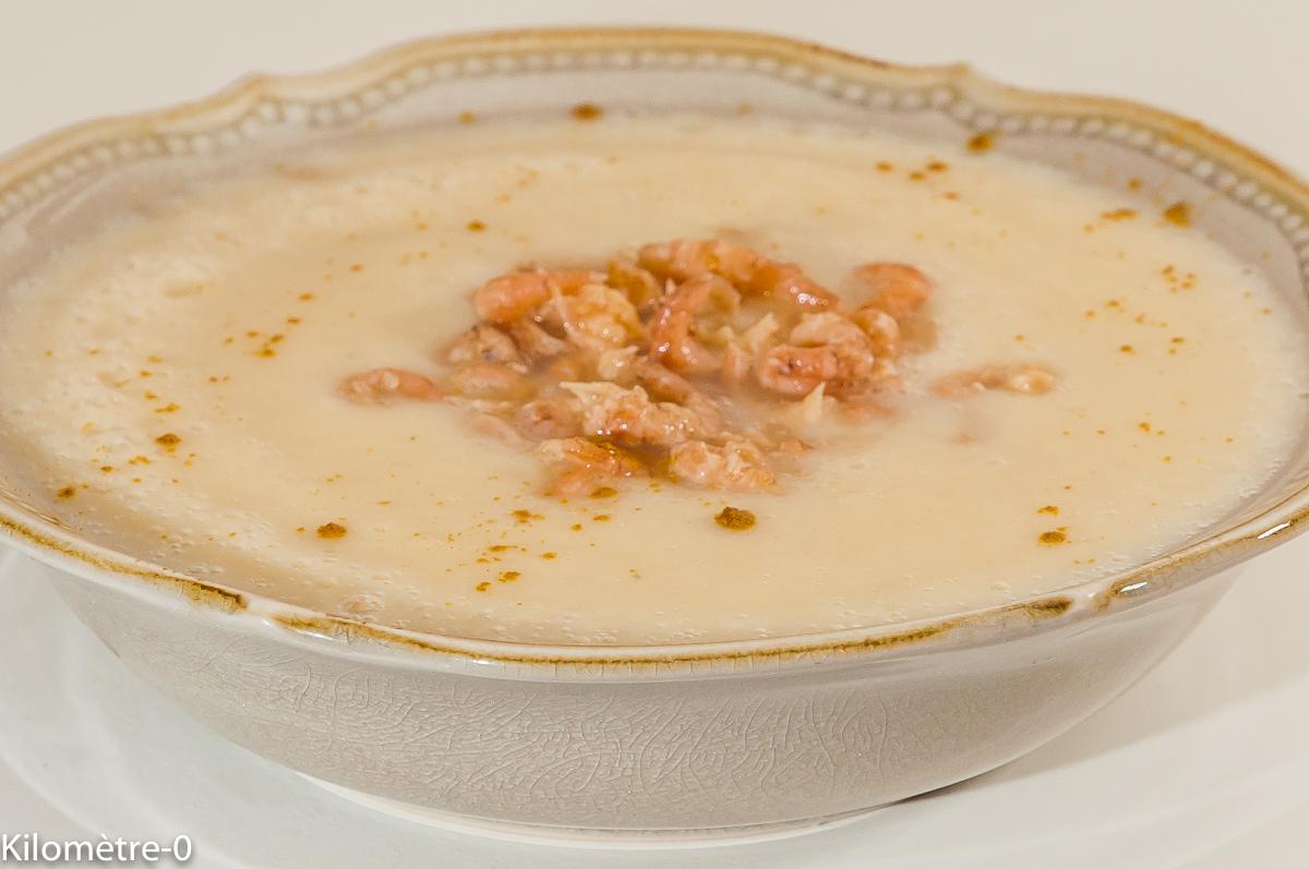Photo de soupe, velouté, potage, chou fleur, curry, crevettes, facile, rapide, bio, léger de  recette de Kilomètre-0, blog de cuisine réalisée à partir de produits de saison et issus de circuits courts