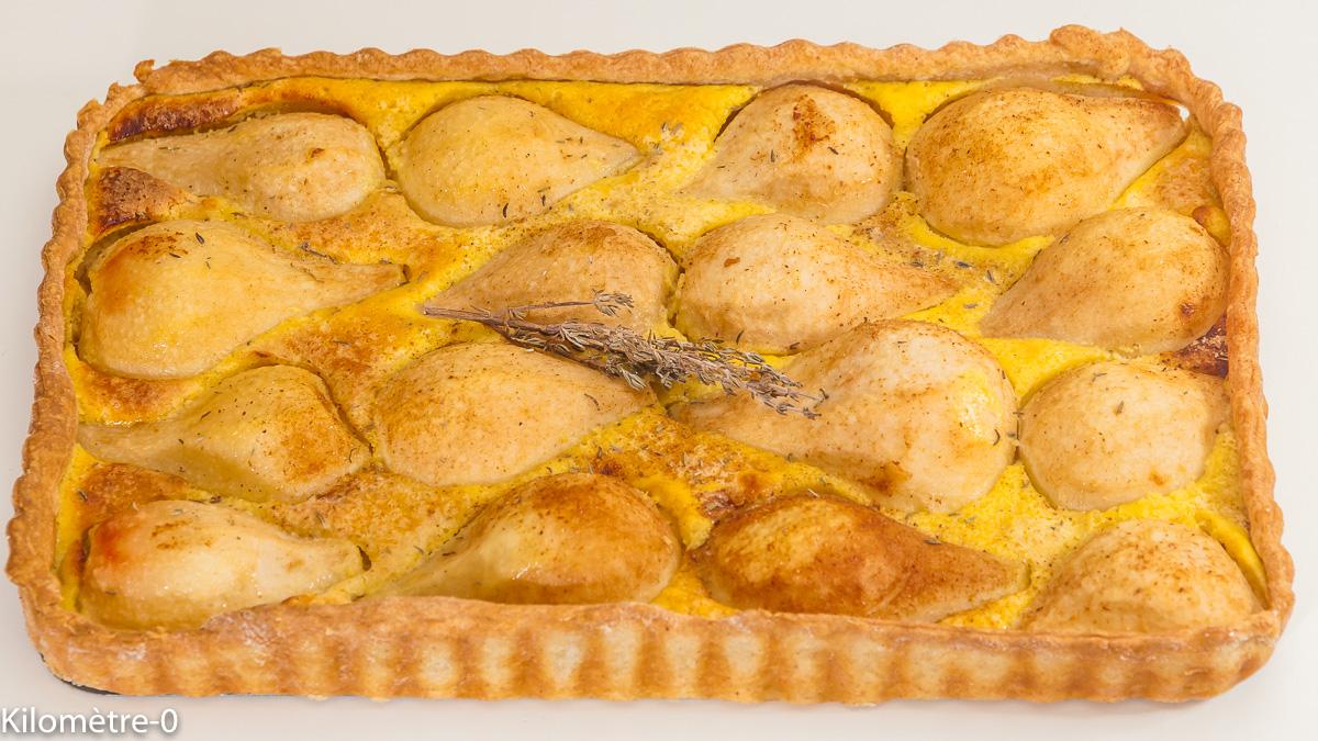 Photo de recette iranienne, tarte aux poires facile, thym, cuisine perse, poire, bio, de Kilomètre-0, blog de cuisine réalisée à partir de produits de saison et issus de circuits courts