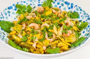 Photo de recette de salade d'hiver, agrumes, pâtes, crevetes, poireaux, léger, facile, healthy de Kilomètre-0, blog de cuisine réalisée à partir de produits de saison et issus de circuits courts