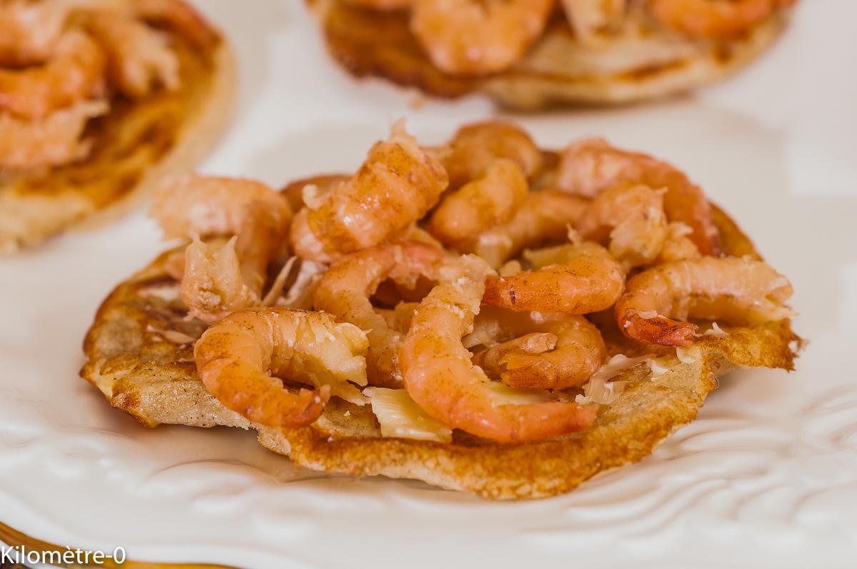 Photo de recette lituanienne, Lituanie, européenne, blinis, crevettes, facile, rapide, légère de de Kilomètre-0, blog de cuisine réalisée à partir de produits de saison et issus de circuits courts