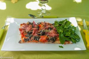 image de recette de Pizza aux cèpes et poivrons facile, rapide, légère, végétarienne