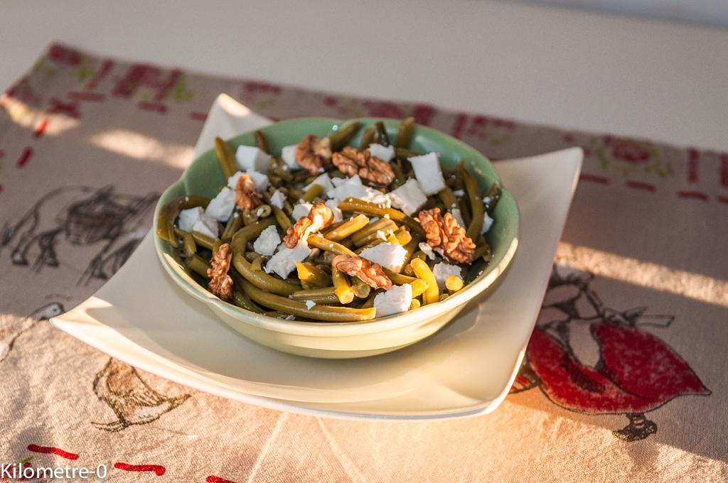 image de recette de Salade de haricots verts à la fêta et aux noix, végétarienne, facile, healthy, légère, bio