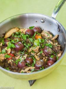 photo de recette de sauté de poulet au basilic, tomates et cèpes, facile, rapide, léger de Kilomètre-0