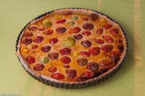 tarte, quiche, tomates, cerises facile, rapide, maison, blog Kilomètre-0
