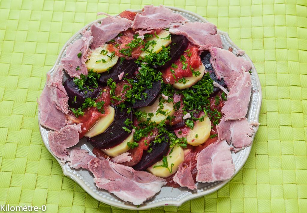 image de recette de salade de pommes de terre, betteraves, tomates et jambonneau, été, automne, légumes, facile, rapide, bio de Kilomètre-0