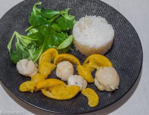 Photo de recette facile, rapide de saint jacques aux mandarines Kilomètre-0, blog de cuisine réalisée à partir de produits locaux et issus de circuits courts