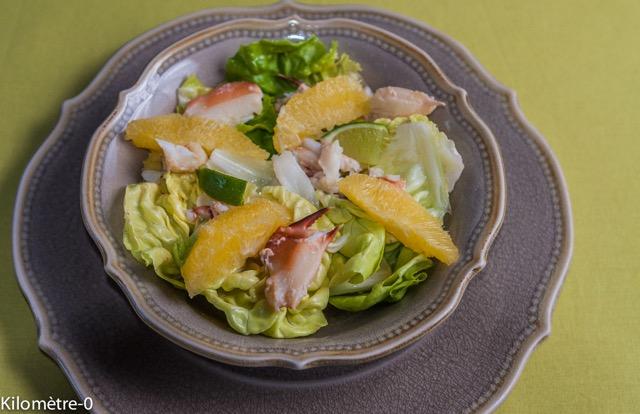 image de recette de salade de crabe à l'orange, facile, légère, rapide, fraiche, de Kilomètre-0