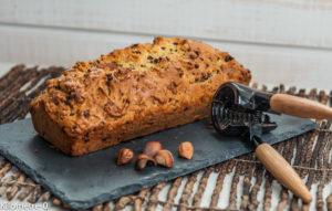 image de recette de dessert, gâteau, Cake à l'orange, noisettes et pépites de chocolat, facile, rapide,  léger , bio de Kilomètre-0
