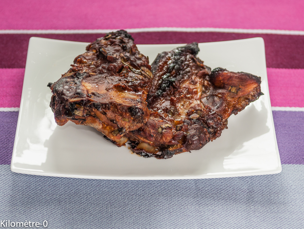 image de recette de travers de porc mariné, spare ribs, facile, ketchup, sauce soja, de Kilomètre-O