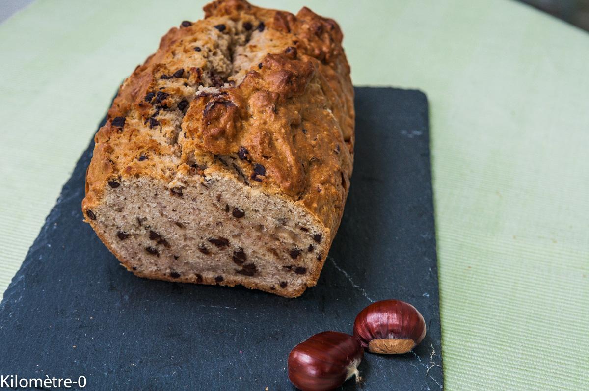 Image de recette de Cake aux chataignes et pépites de chocolat, facile, bio, healthy, rapide, gâteau du matin