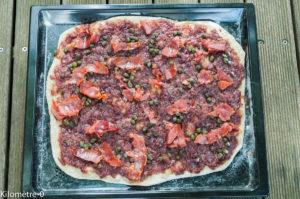 image de recette de flammekuche , pizza, oignons, facile, maison, bio,