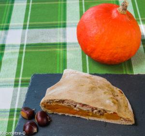 image de recette de pizza calzone, italienne, potimarron, châtaignes, jambon, facile, automne, healthy