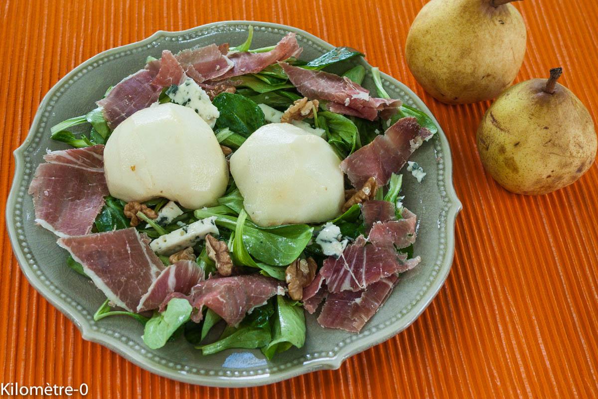 image de recette de salade de poires, jambon, bleu, facile, rapide, bio de Kilomètre-0