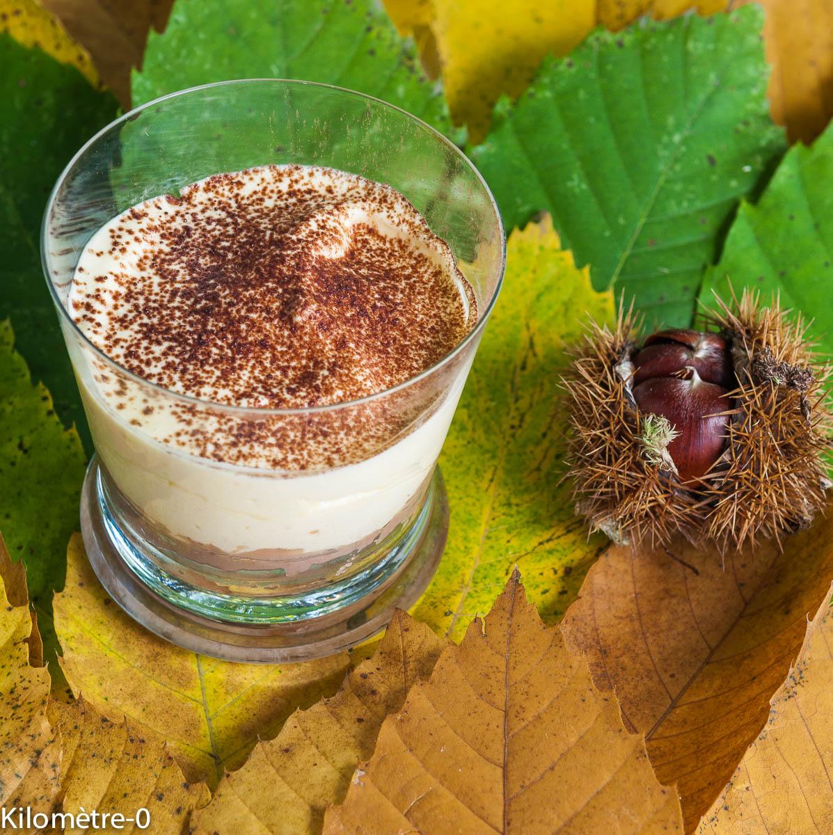 image de recette facile, rapide, économique, bio, léger, fruits, châtaignes, automne, tiramisun dessert italien, italienne, Italie de  dessert de Kilomètre-0