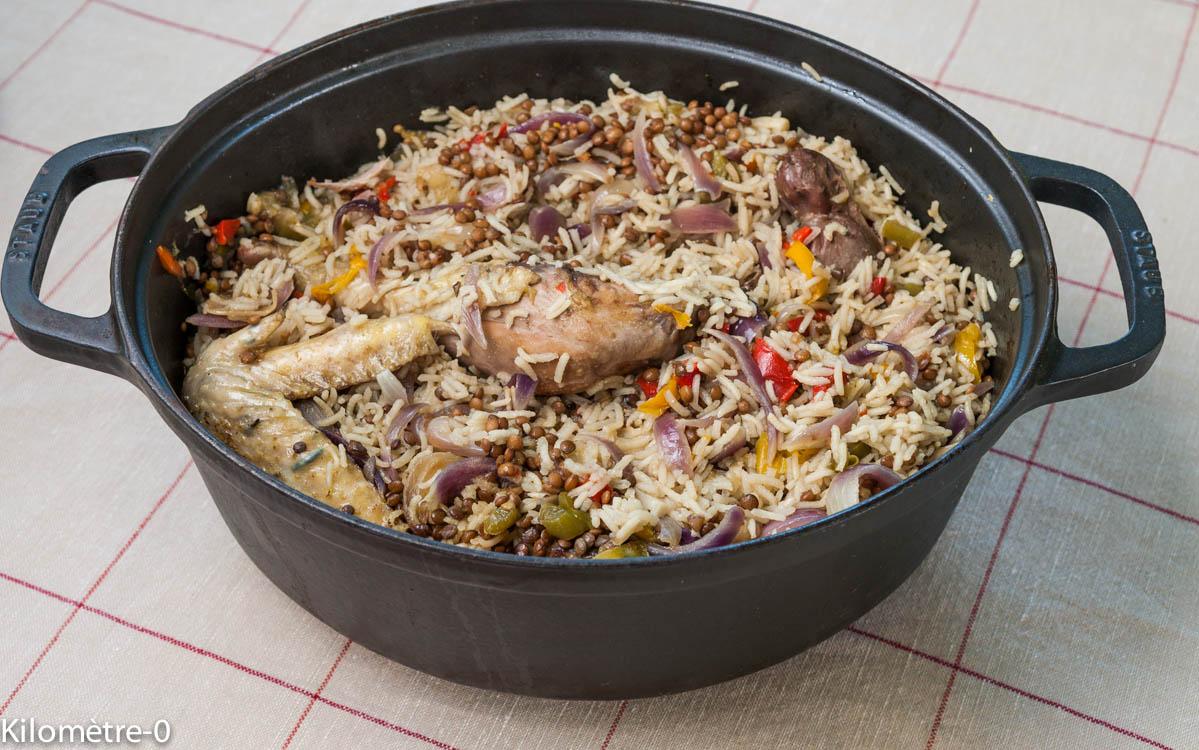 image de recette facile, rapide, économique, légère, bio de Kilomètre-0, poulet au riz et aux lentilles