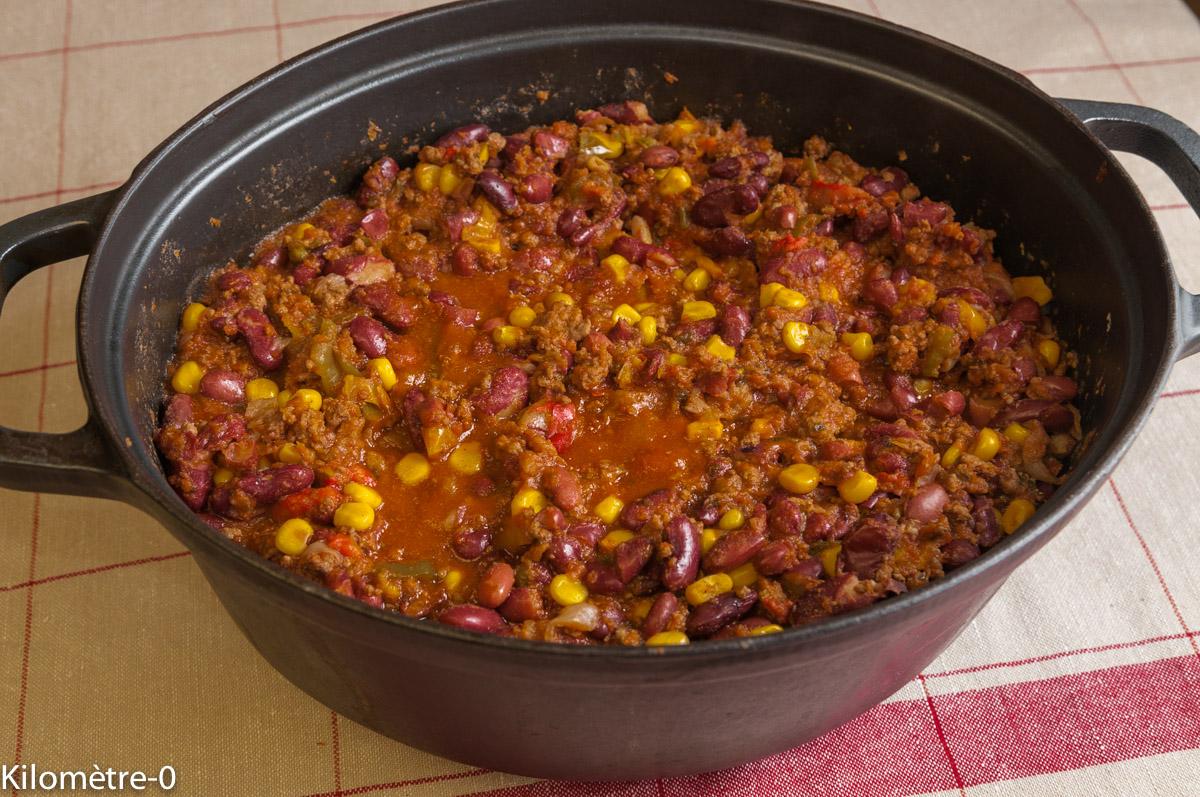 chili con carne, cuisine mexicaine, recette du Mexique, recette texane, cuisine américaine, centre américaine, haricots rouges, boeuf, viande hâchée, mijotée, ragout,