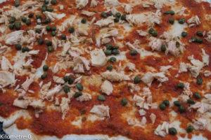 image de recette italienne, facile, rapide, légère, bio de Kilomètre-0, pizza au thon et aux capres
