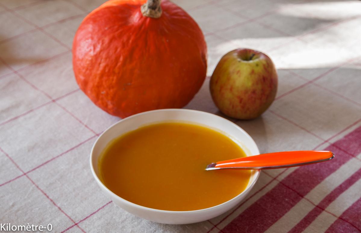 soupe, potage, velouté de potimarron facile aux pommes, bio, rapide, léger, automne, légumes, courges , Kilomètre-0