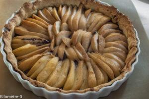 image de recette de tarte poire chocolat, facile, rapide, bio, healthy, de Kilomètre-0