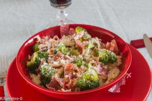 image de recette facile de kilomètre-0 de pâtes, brocolis, jambon, parmesan et pignons de pin, bio, rapide, léger