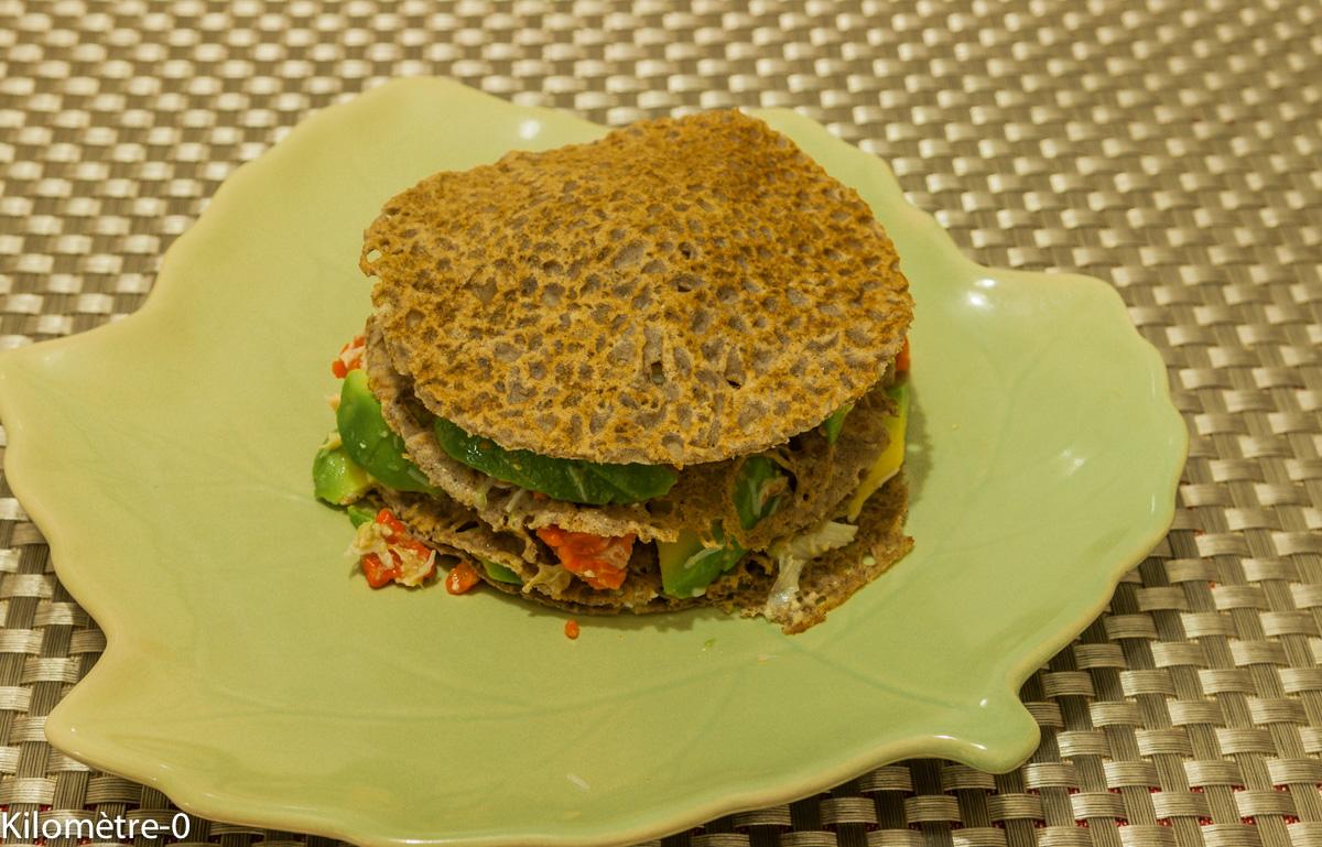 image de recette de burger breton au crabe, facile, léger, festif, galette, sarrasin, blé noir, Kilomètre-0