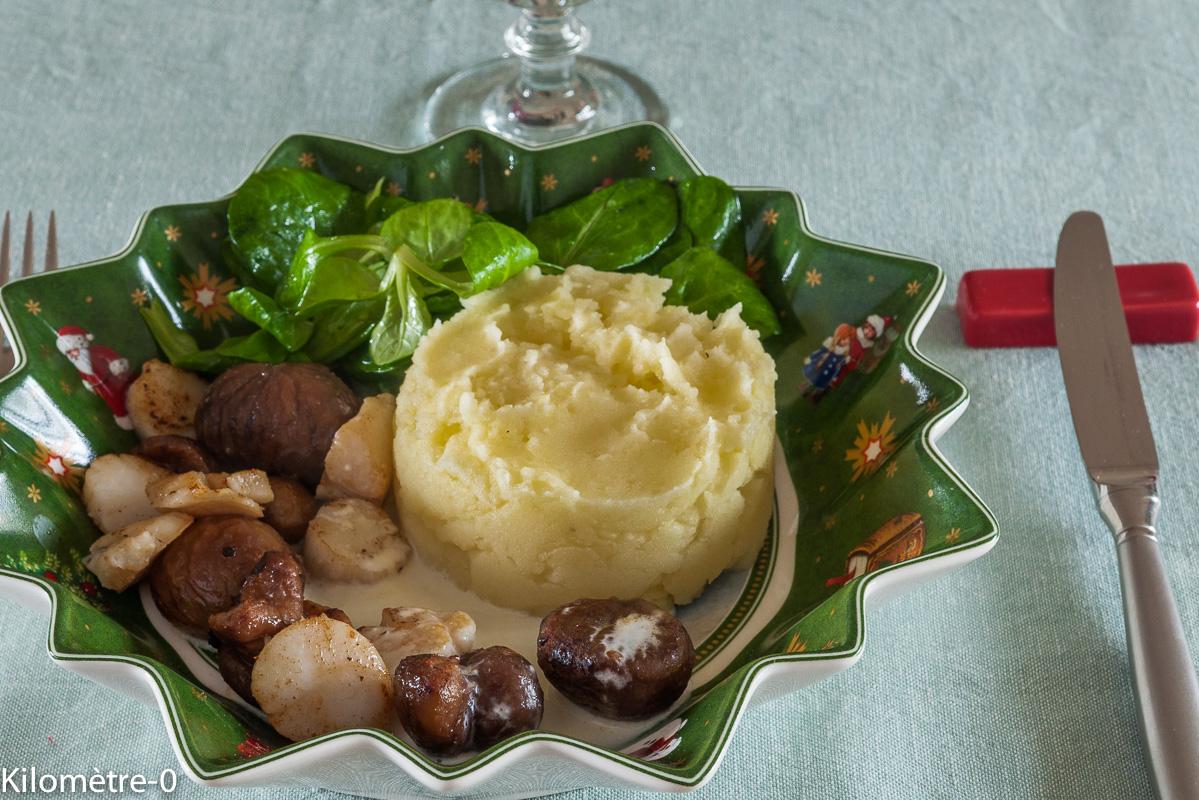 image de recette de saint jacques, marrons, purée maison, facile, Noël, festive, rapide de Kilomètre-0