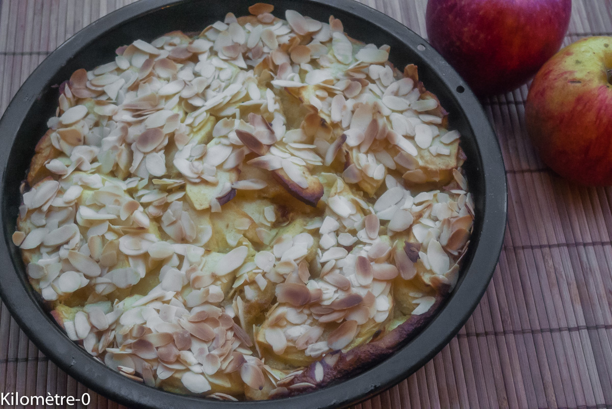 image de recette, facile, rapide, légère, bio, pommes, fruits de Kilomètre-0, gâteau pommes et amandes, dessert