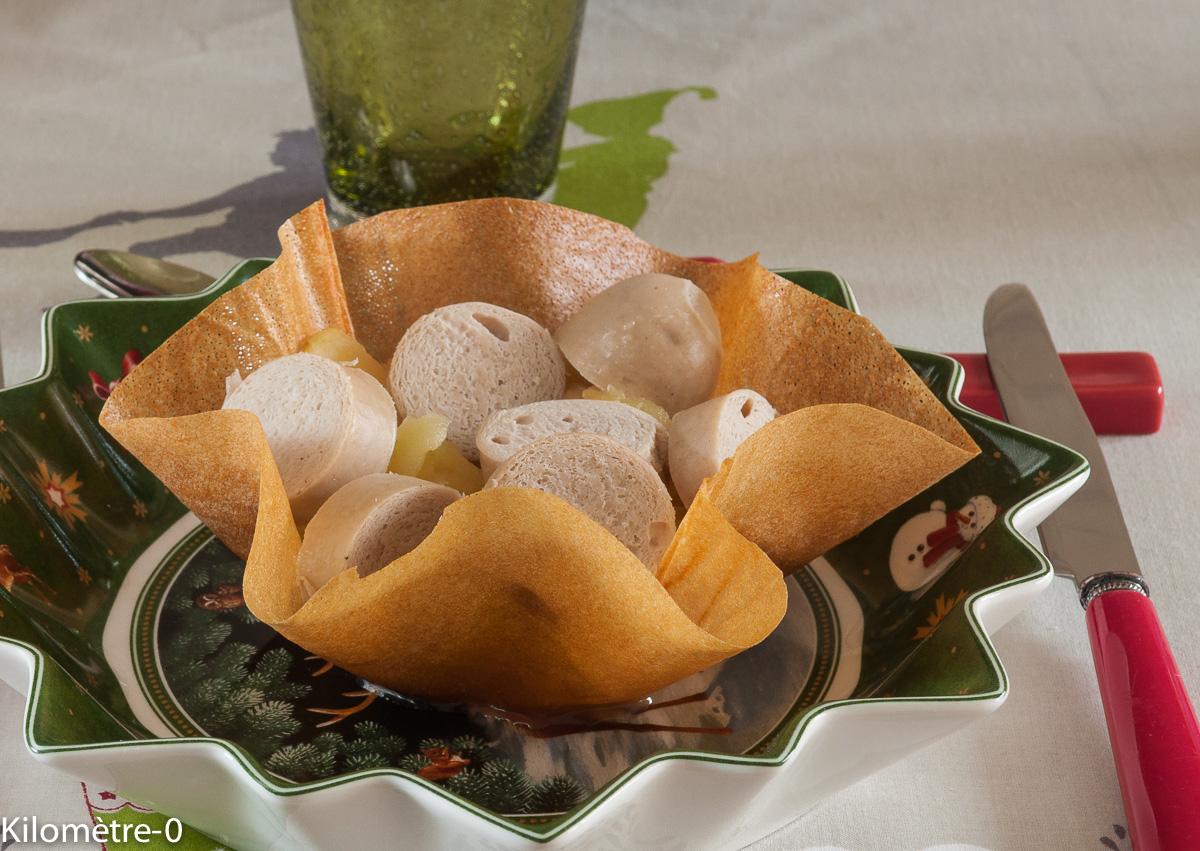 image de recette facile de Noël de Kilomètre-0, corolle de boudins blancs aux pommes, fruits,