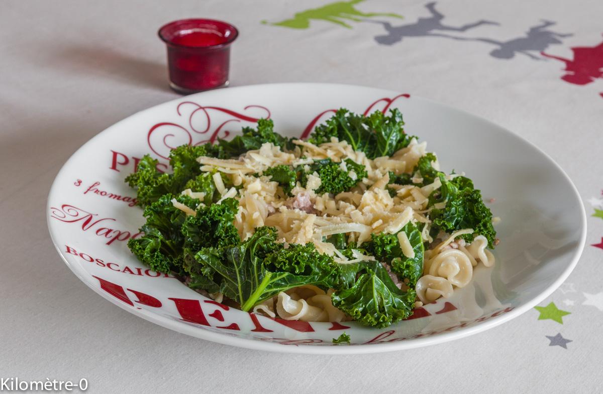 image de recette facile, rapide, hiver de pâtes au chou et à la saucisse, légumes, bio de Kilomètre-0