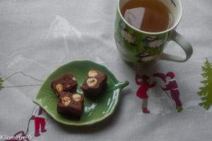 image de recette de Fudge aux noisettes, facile, rapide, maison, biscuits, bouchées de Noël, chocolat, de Kilomètre-0