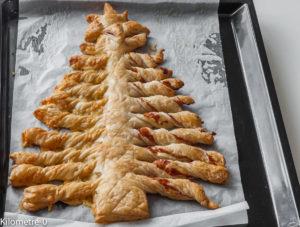 Photo de recette de sapin feuilleté de Noël, facile, apéro, rapide, jambon Kilomètre-0, blog de cuisine réalisée à partir de produits locaux et issus de circuits courts
