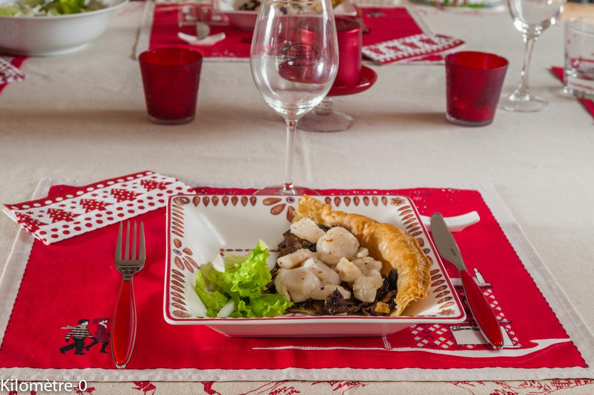 Photo de recette tarte saint jacques cèpes de Kilomètre-0, blog de cuisine réalisée à partir de produits locaux et issus de circuits courts