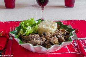 Photo de recette de dinde de Noël, champignons, purée et légumes bio de Kilomètre-0, blog de cuisine réalisée à partir de produits locaux et issus de circuits courts
