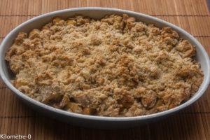 Photo de recette de crumble pommes poires châtaignes bananes, fruits, hiver de Kilomètre-0, blog de cuisine réalisée à partir de produits locaux et issus de circuits courts