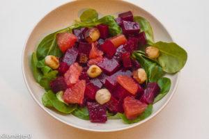 Photo de recette de salade légère, rapide, facile de betterave pamplemousse Kilomètre-0, blog de cuisine réalisée à partir de produits locaux et issus de circuits courts