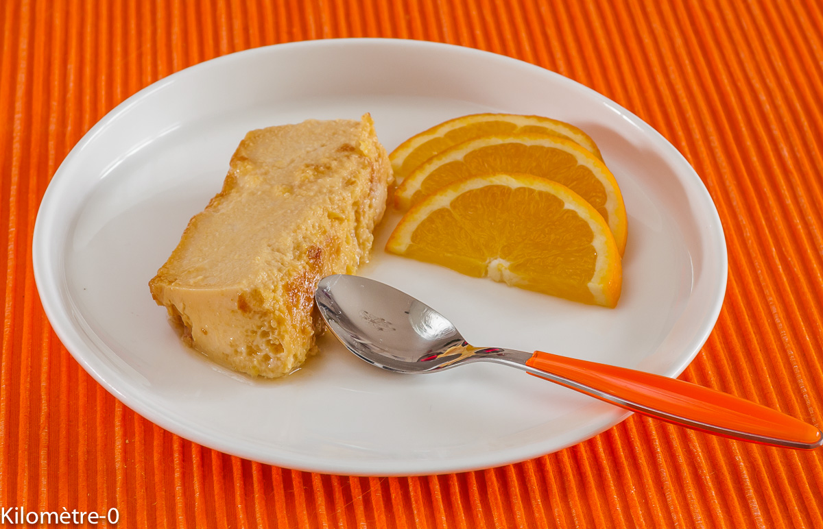 Photo de recette de flan facile  à l'orange de Kilomètre-0, blog de cuisine réalisée à partir de produits locaux et issus de circuits courts