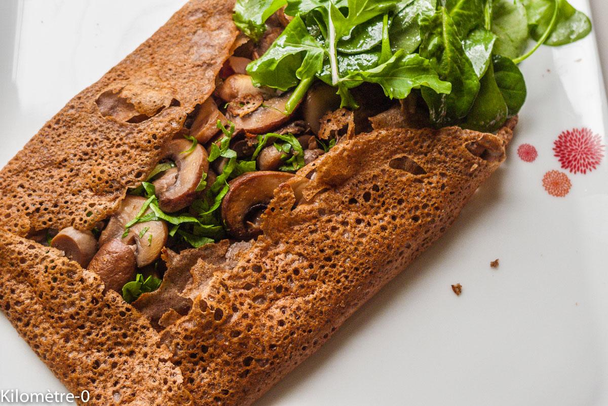 Photo de recette de galette de sarrasin de Kilomètre-0, blog de cuisine réalisée à partir de produits locaux et issus de circuits courts