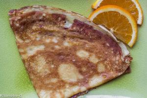 Photo de recette de crepes orange de Kilomètre-0, blog de cuisine réalisée à partir de produits locaux et issus de circuits courts