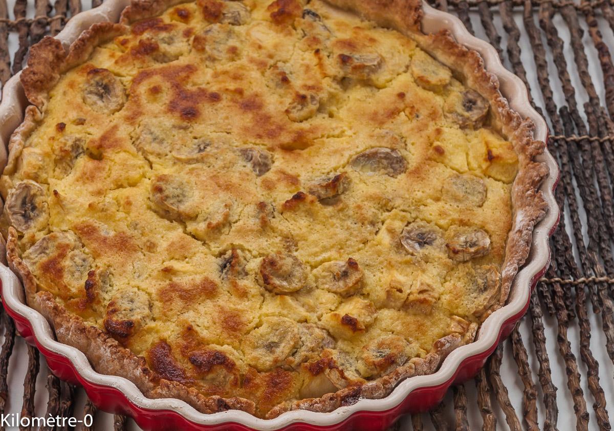 Photo de recette facile de tarte banane pomme coco de Kilomètre-0, blog de cuisine réalisée à partir de produits locaux et issus de circuits courts
