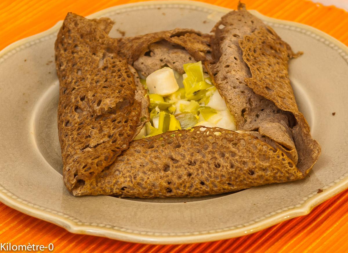 Photo de recette de galette pétoncles poireaux de Kilomètre-0, blog de cuisine réalisée à partir de produits locaux et issus de circuits courts